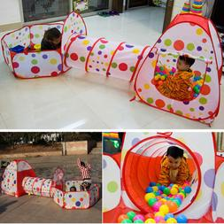 Portable Kids Play Tent Crawl Tunnel 3 in 1 Ball Pit Play Ho