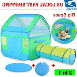 3 In 1 Kids Pop-Up Play Tent Outdoor Play House With Playhou