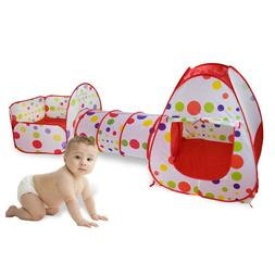 3pcs Kids Play Tent Crawl Tunnel and Ball Pit with Basketbal