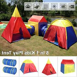 5 in 1 Folding Toddler Kids Play Toy Tent Crawl Tunnel Indoo
