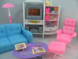 Gloria Dollhouse Furniture - Family Room TV Couch Ottoman Pl