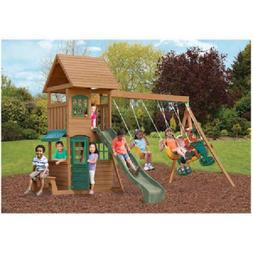 backyard swing set cedar wooden outdoor playground