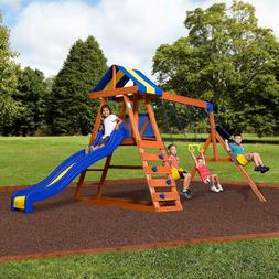 Backyard Swing Set Wooden Outdoor Playground Playset Kids Pl