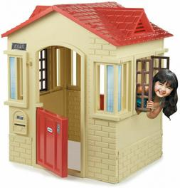 Cape Cottage Outdoor Playhouse Toy Tan Plastic Easy Clean Du