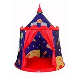 ALPIKA Castle Kids Tent Playhouse with Rocket and Space Indo