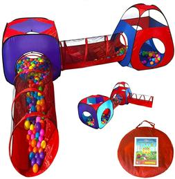 Children Playhouse Ball Pit with Crawl Tunnel Tents Indoor &