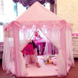 Children Princess Pink Castle Tents Portable Boys Girls Indo