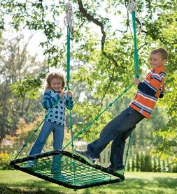 Deluxe Platform Hanging Tree Swing for Yard or Playground, W
