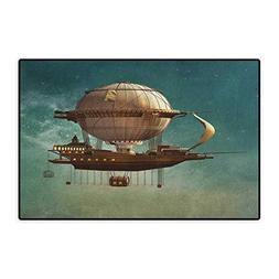 Fantasy,Door Mats for Home,Surreal Sky Scenery with Steampun