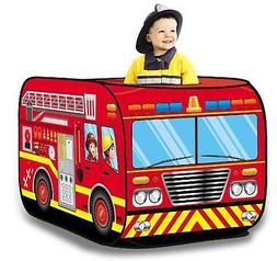 Fire Engine Truck Pop Up Play Tent - Foldable Indoor/Outdoor