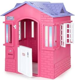 Girls Pink Playhouse Princess Cottage Backyard Outdoor Plast