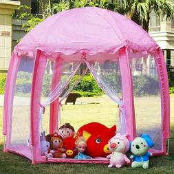 Girls Pink Princess Castle Cute Playhouse Child Kids Play Te