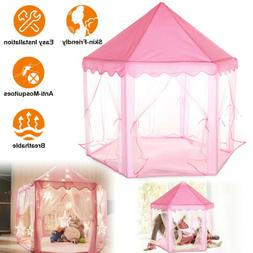 Girls Pink Princess Castle Cute Playhouse Children Kids Play