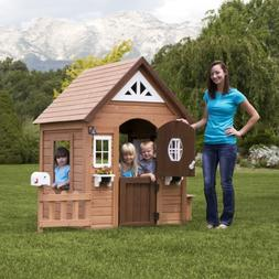 Kids Backyard Wooden Cedar Playhouse Summer Cottage Play Hou
