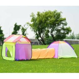 Kids Children 3 In 1 Outdoor Folding Pop Up Play Tent Tunnel