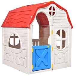 Kids Cottage Play House Foldable Portable Plastic Children I