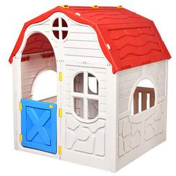 Kids Cottage Playhouse Foldable Plastic Play House Portable