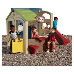 Kids Outdoor Playhouse Cottage Slide Climber Playground Fun