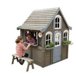 Kids Outdoor Playhouse w/Play Kitchen Wooden Play House Ceda
