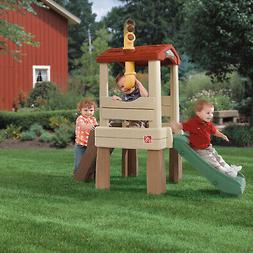 Kids Outdoor Playset Lookout Treehouse Climber W/ Slide Todd