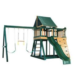 Kids Outdoor Wooden Swing Set Playhouse Wavy Slide Rock Wall