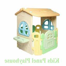 Kids Playhouse Cottage Outdoor Kids Panel House Toy Plastic