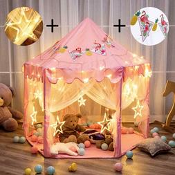 Kids Playhouse with LED Star String Lights Banners Decor Ind