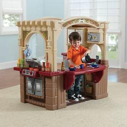 Kids Playhouse Yard Garden Play Kitchen Grill Stovetop Burne