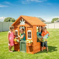 kids wooden playhouse with fun colored working