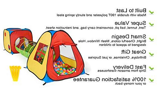 UTEX 1 Pop Up Tent with Tunnel, for Kids, Boys, Babies Playhouse