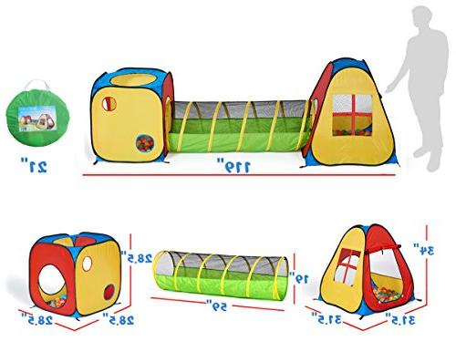 UTEX Pop Play Tent with Tunnel, for Babies and Indoor/Outdoor Playhouse