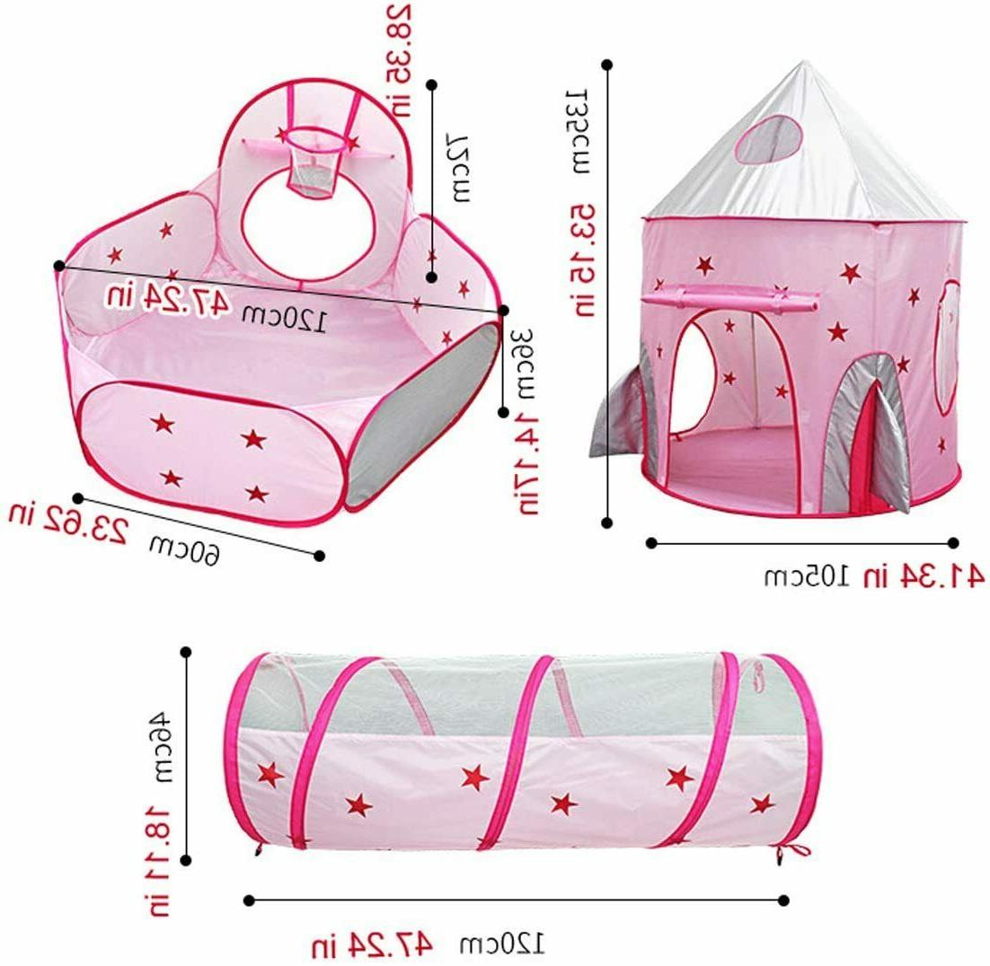 3 Kids Play Tent Pop Up Pit In/Outdoor Toy Tent