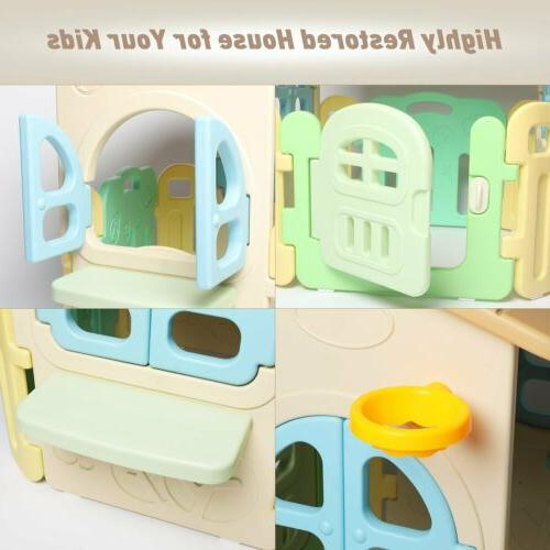 Kids Playhouse Cottage Outdoor Kids Panel House Plastic Easy Arc