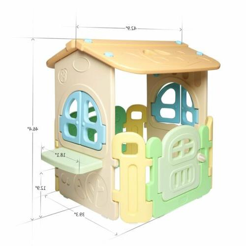 Kids Playhouse Cottage Kids House Plastic Easy Clean Arc