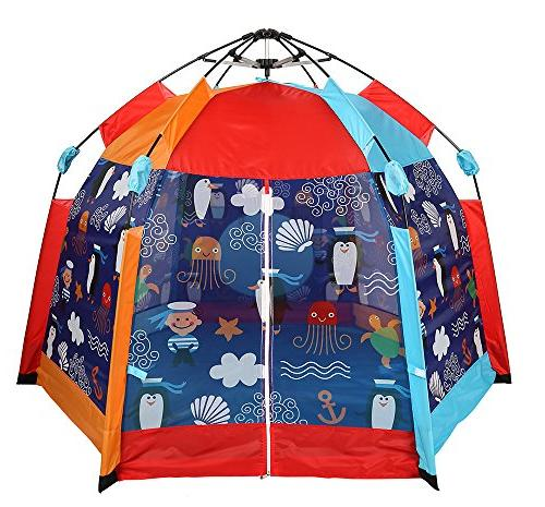 UTEX Instant 6 Kids Play Indoor/ Outdoor Zippered Front, Camping Playhouse Playground,