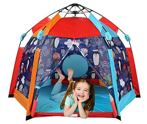 """UTEX Automatic Instant Kids Tent Indoor/ Fun,Kids Tent Sun with Zippered Mesh Front, Playhouse x 66"""" x"""
