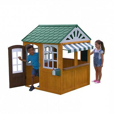 easy clean backyard wooden playhouse kids cafa