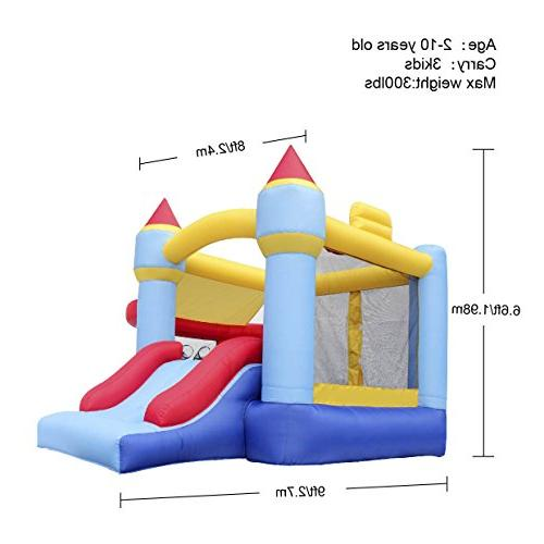Bounce House Castle Inflatable Slide Ball Pit Hoop With Balls