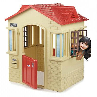 cape cottage childrens outdoor playhouse tan
