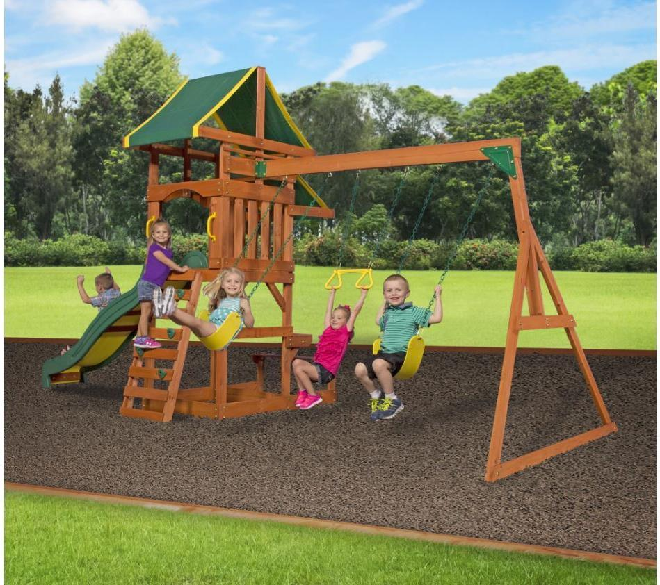 cedar swing set playground outdoor playset kids