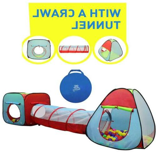 childrens dual play tent with tunnel 3pcs