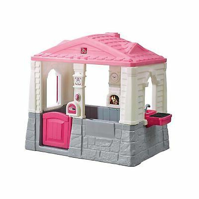 cottage neat tidy pink playhouse