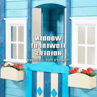 Easy Assembly Wooden Playhouse Woodbridge Blue