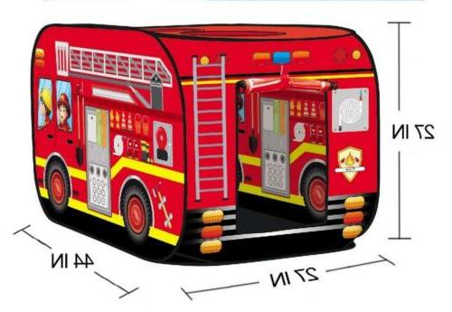 Liberty Imports Fire Engine Truck Up Tent Foldable In Playhouse