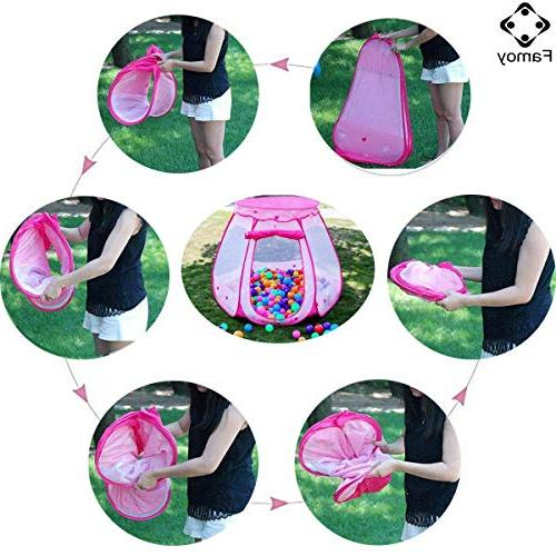 Famoy Folding Pit Girls Indoor Outdoor to Years Old Toys, Children Up Play Playhouses with Tote Bag for -