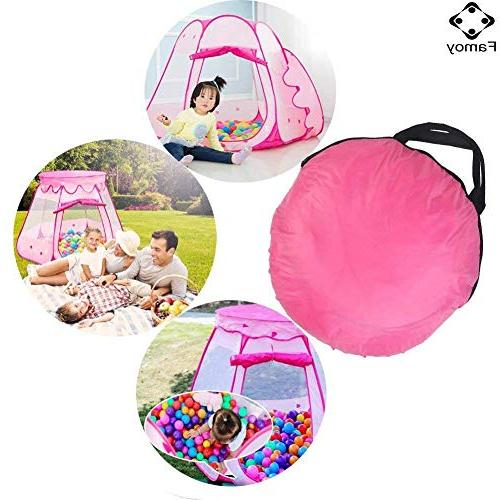Famoy Princess Ball Pit Tent Indoor 1 to 8 Old Toys, Children Game Up Playhouses Bag - Pink