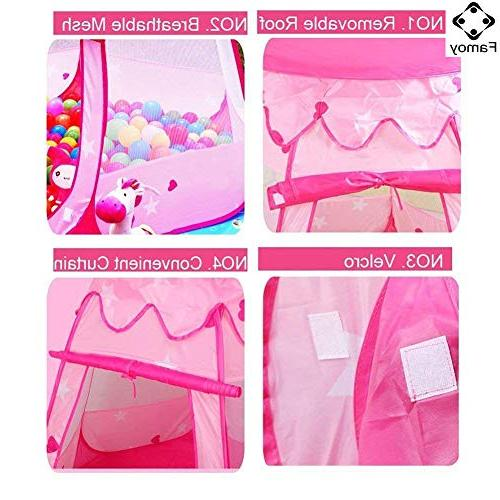 Famoy Folding Princess Pit Tent to Toys, Children Pop Up Play Tent Playhouses Bag for Kids -