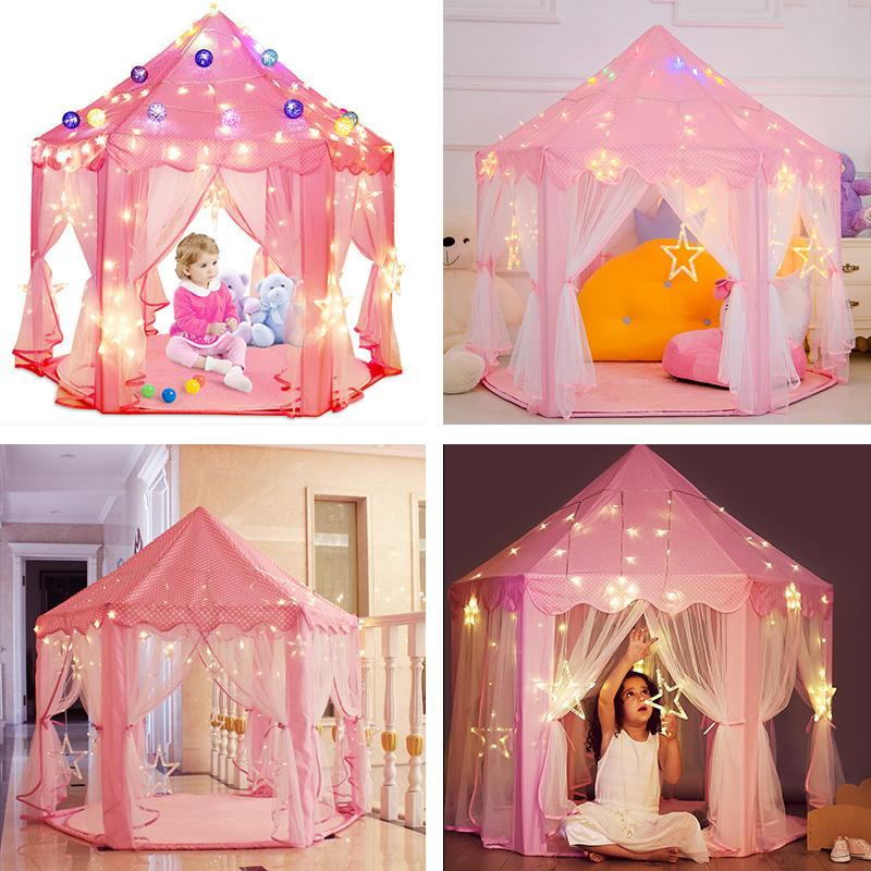 girl princess pink castle tents portable children