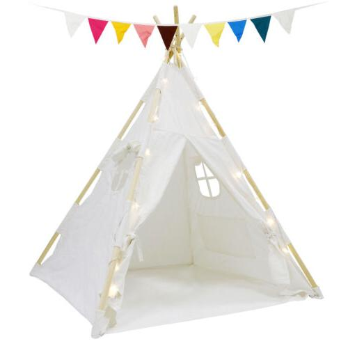 Indian Play Tent Teepee Kids Playhouse Sleeping with LED Lights Decor