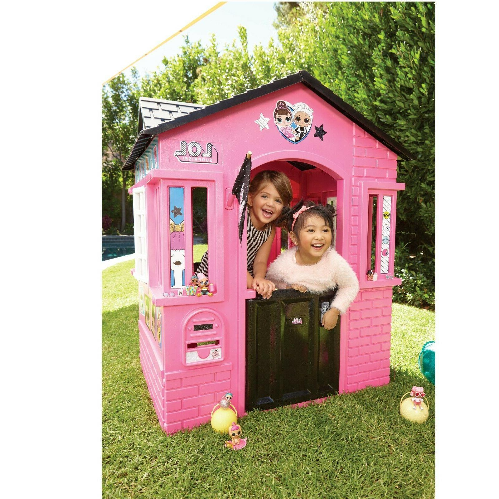 indoor and outdoor cottage playhouse with glitter